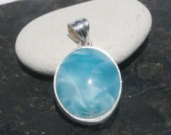 Gorgeous larimar Stone Penant Handcrafted In Sterling Silver 925