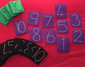 Tactile number tiles set 1-10