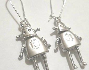 Silver Robot Charm Earrings with Silver Tone Kidney Earwire- Robot Earrings- Drop Earrings