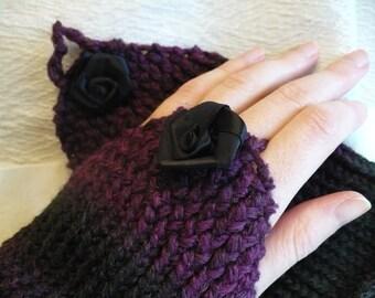 Elegant wrist-warmer with a black rose