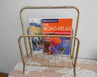 Mid century magazine rack,  gold faux bamboo, news paper rack