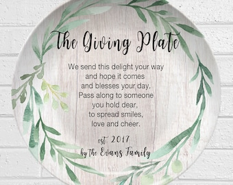 Giving Plate | Personalized Plate | Greenery Design