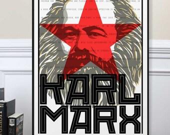 Karl Marx Poster, Photography Inspirational Print, Motivational, Home Decor, Studio Office Poster Art, Quote, Communist Manifesto
