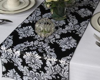 Black and White Satin Damask Table Runner