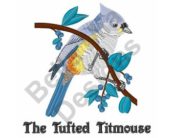 Bird - Machine Embroidery Design, Titmouse, Tufted Titmouse