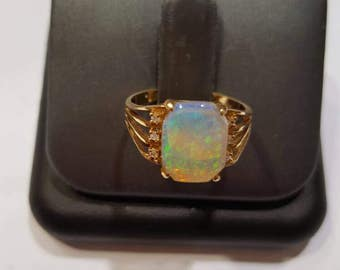 14k Gold ring opal 10×8 (1pc) diamond (6pcs)