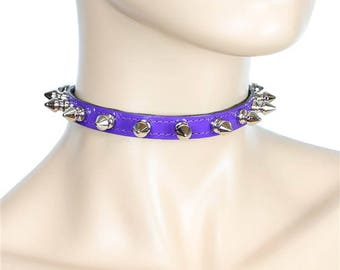 """Purple Patent Leather PVC Thin 1/2 Choker Necklace with 1/2"""" Spikes Skinny Collar - DS-CK-135P-Pur"""
