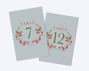 PRINTABLE Wedding Table Numbers 1-20 Winter Wedding Table Numbers Christmas Wedding Table Numbers Christmas Table Numbers INSTANT DOWNLOAD