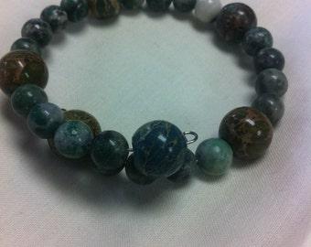 Sea sediment beads on memory wire bracelet