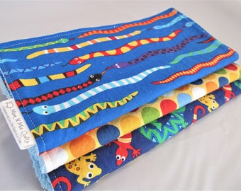 Boy Burp Cloth Set - Things that Slither Snakes and Lizards - Brightly colored burp pad gift set for baby boy