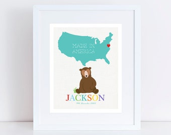 personalized american birth print - custom nursery art print - bear with USA birth stats new baby girl or boy animal map birth certificate