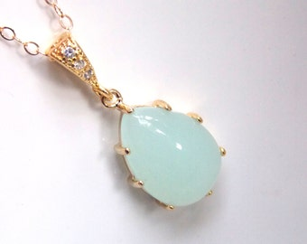 Mint Necklace, Gold Green Necklace, Bridesmaid Jewelry, Bridesmaid Necklace, Gold Filled, Aqua, Zirconia, Bridal Jewelry, Bridesmaid Gifts