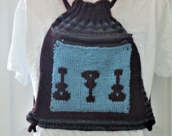 Blue and Brown Guitar Knit Drawstring Backpack