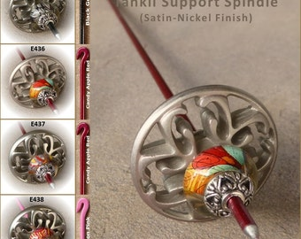Tahkli Support Spindle - Beaded, Filigree Alloy Whorl - Black, Red, of Pink (435-438) FREE SHIPPING