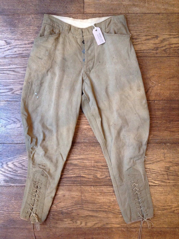 "Vintage 1930s 1940s 28"" waist US army breeches trousers pants high waisted button fly leg lace"