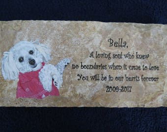 Pet Memorial Stone Original Hand Painted 12 x 6 inches Made to Order Any Animal by Shannon Ivins