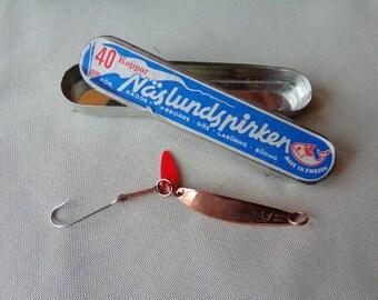Vintage NOS Naslundspirken 40 Copper Finish Fishing Lure Made in Sweden Original Box