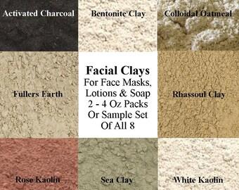 Facial Clay, Cosmetic Clay Sample Set - Kaolin Clay, Sea Clay, Bentonite Clay, Fullers Earth Clay, Rhassoul Clay