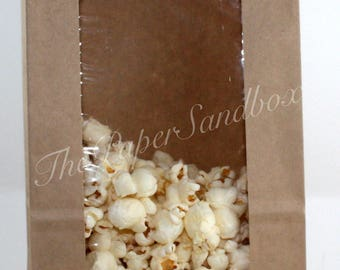 """Kraft Brown Grease Resistant Bags with Window, 5""""x3""""x9 5/8"""", Popcorn Bags, Cookie Bags, Wedding Favor Bags, Party Favor Bags, Donut Bags"""