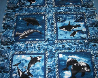 Blue Orca Whale and Dolphin Twin Size Handmade Quilt