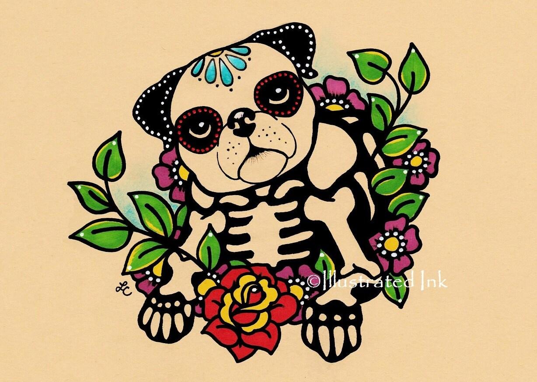 Day of the Dead PUG Dog Dia de los Muertos Art Print 5 x 7 8