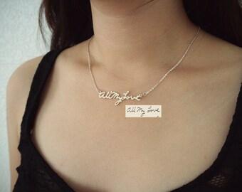 Custom Handwriting Memorial Signature Necklace • Personalized Handwriting Necklace • Handwriting Jewelry • Mom Gift • MOMS JEWELRY • NH01