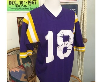Vintage 70s purple and yellow football jersey tee shirt