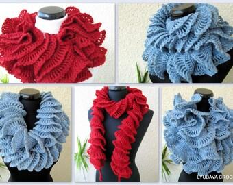 Crochet Scarf PATTERN, Ruffle Scarf Pattern, Unique Crochet Scarf, DIY Gift For Women, Instant Download, PDF Pattern #65, Lyubava Crochet