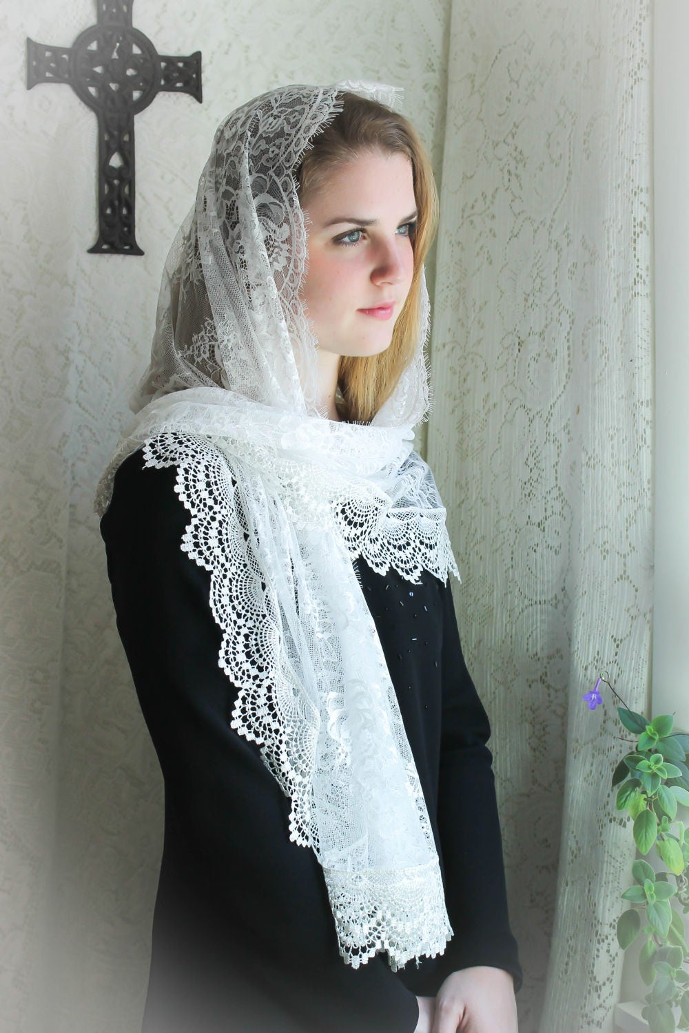 Evintage Veils~ Cream White Spanish Lace Vintage Inspired ...