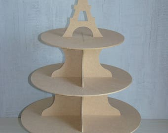 Eiffel Tower wood MDF display customize Cup cake, sweets...