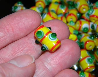 New 12/pc YELLOW/ GREEN/ RED Colorful Bumpy Dot  Lampwork beads 17x12mm Beads