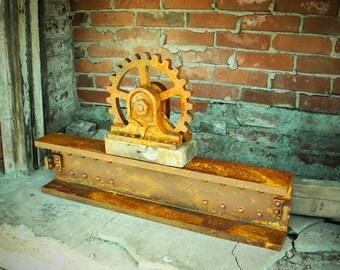 Steampunk Decor, Steampunk Shelf, Steampunk Wall Art, Industrial Decor, Large Wood Gear