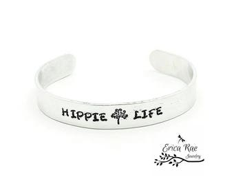 Hippie life metal stamped bracelet cuff, quote bracelet,  boho bracelet, boho jewelry,  stamped jewelry, tree of life bracelet