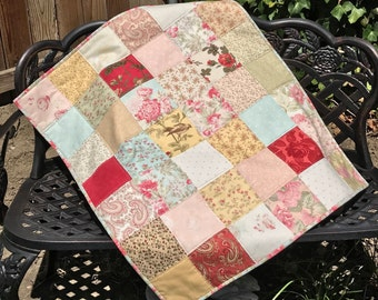 Shabby Chic Baby Girl Quilt/Crib Quilt/Play Mat. Beautiful Floral Fabric - 3 Sisters Favorites by Moda. Pink Minky Backed - Ready to Ship