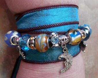 Beautiful Silk Wrap Bracelet-Night Song/Gypsy/Boho
