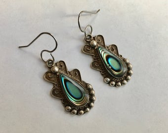 upcycled old Mexican abalone earrings