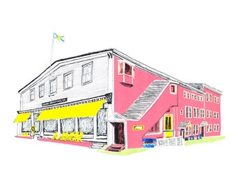Art Print - Lahave Bakery, Nova Scotia, Pink, Architectural, Victorian Building, Collage, Collage Art, Mixed Media, Cut Paper, East Coast