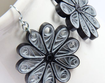 Large Grey Flower Earrings Niobium Paper Quilled Eco Friendly Jewelry, Artisan Jewelry hypoallergenic