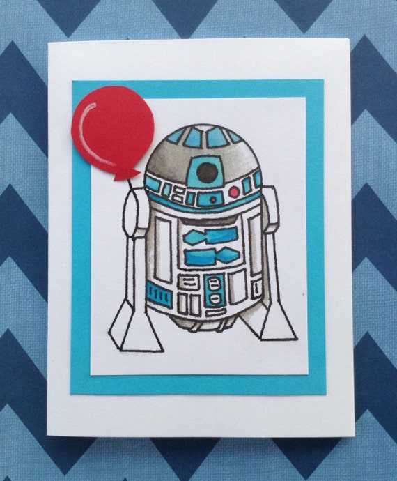 Star wars r2d2 birthday cardparty invitationbirthday thank bookmarktalkfo Choice Image