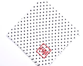 Howard Matthews Co. White with Black Polka Dots Hollywood Pocket Square