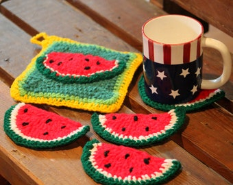 Watermelon Coasters Crochet- set of four, Watermelon potholder and coaster set, handmade  coasters, drink coasters  coffee mugs, mug mat set