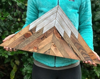 Rustic Wood Mountain Triangle Wall Art - Small