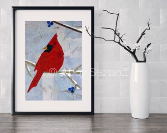 Bird Art, Bird Lover, Decor, Cardinal, Wall Art Print, Colorful Artwork, Woodland Creature, Mixed Media Collage, Nature Art, Animal Art