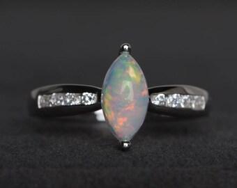 natürliche weiße Opal Ring Opal Jahrestag Ring Oktober Geburtsstein Marquise geschnitten weißen Edelstein Sterling Silberring