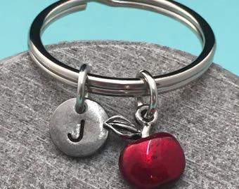 Apple keychain, apple charm, food keychain, personalized keychain, initial keychain, initial charm, customized keychain, monogram