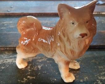 Porcelain dog figurine,  Keeshond figurine, Akita figurine, ceramic dog figurine, vintage dog collectible