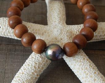 Golden metallic edison pearl with sandalwood beads, beach chic, boho style, boho bohemian, summer bracelet, stacking bracelet