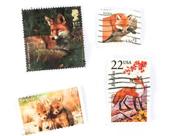 4 x Fox postage stamps - off paper, all different - Red Foxes Cubs - for collage, stamp collecting, journal, mail art