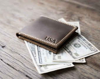 Personalized Men's Leather Wallet - Custom Engraved - The BIG TEXAS Wallet #063