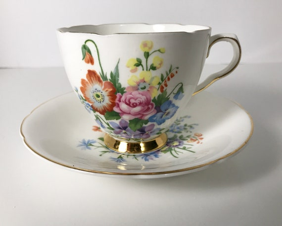 Vintage Old Royal Bone China Teacup and Saucer - Bouquet of Garden Favorites